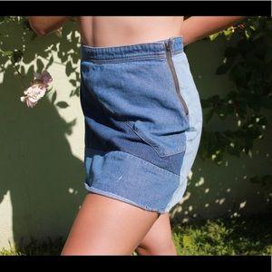 Multi color denim mini skirt